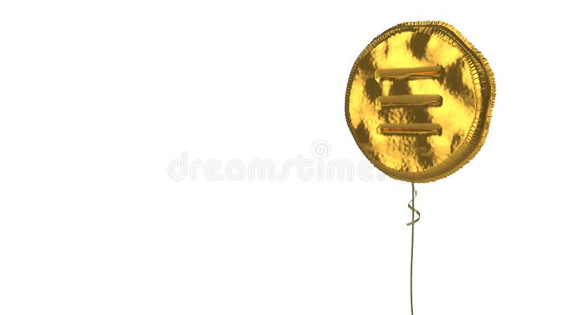 Gold balloon symbol of menu  on white background. 3d rendering of gold balloon shaped as symbol of three lines in circle menu isolated on white background with royalty free illustration