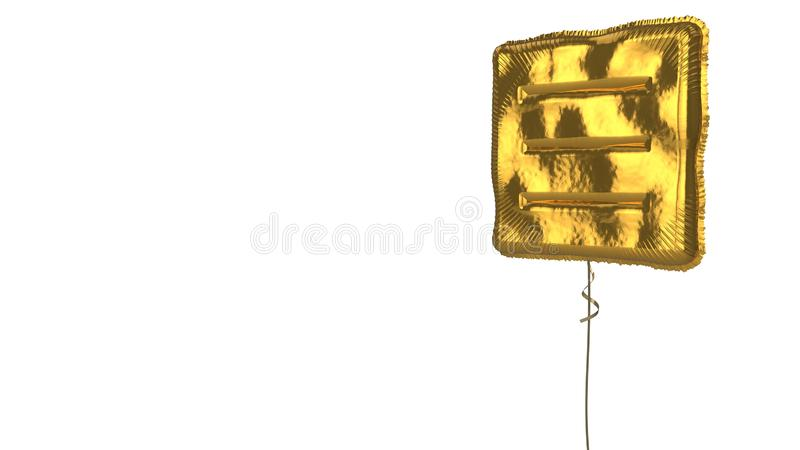 Gold balloon symbol of menu  on white background. 3d rendering of gold balloon shaped as symbol of three lines in square menu isolated on white background with royalty free illustration