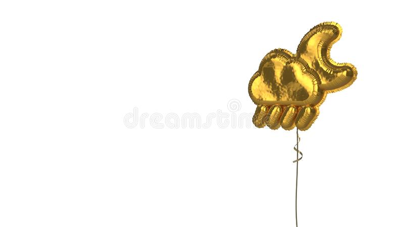 gold balloon symbol of rainy cloud moon on white background stock images