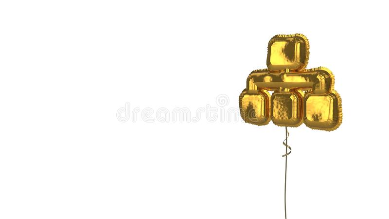 Gold balloon symbol of sitemap on white background. 3d rendering of gold balloon shaped as symbol of network from one main and three other rectangles isolated on royalty free illustration