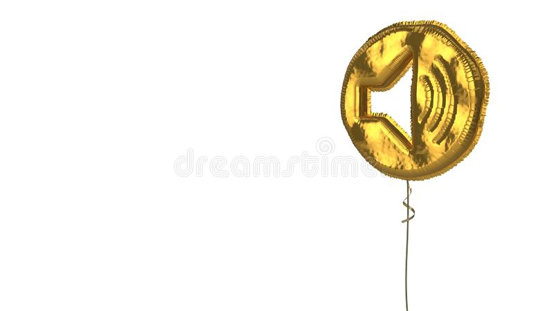 Gold balloon symbol of speaker  on white background. 3d rendering of gold balloon shaped as symbol of speaker in circle high isolated on white background with royalty free illustration