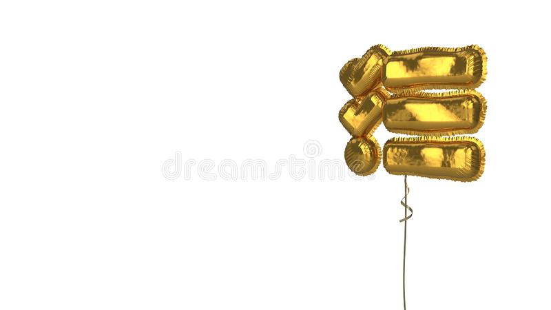 Gold balloon symbol of tasks on white background. 3d rendering of gold balloon shaped as symbol of three lines and check marks isolated on white background with vector illustration