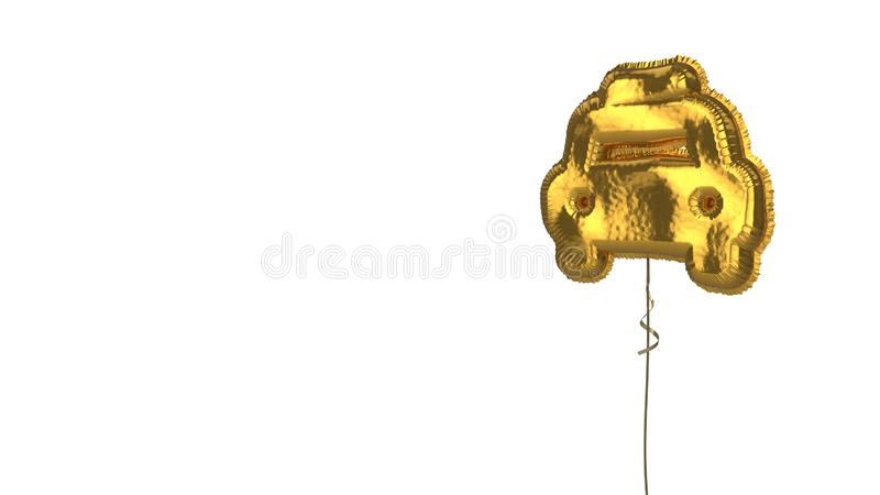 Gold balloon symbol of taxi on white background. 3d rendering of gold balloon shaped as symbol of taxi from front view isolated on white background with ribbon stock illustration