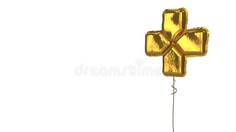 Gold balloon symbol of technology  on white background. 3d rendering of gold balloon shaped as symbol of cross from four arrows with central direction isolated vector illustration