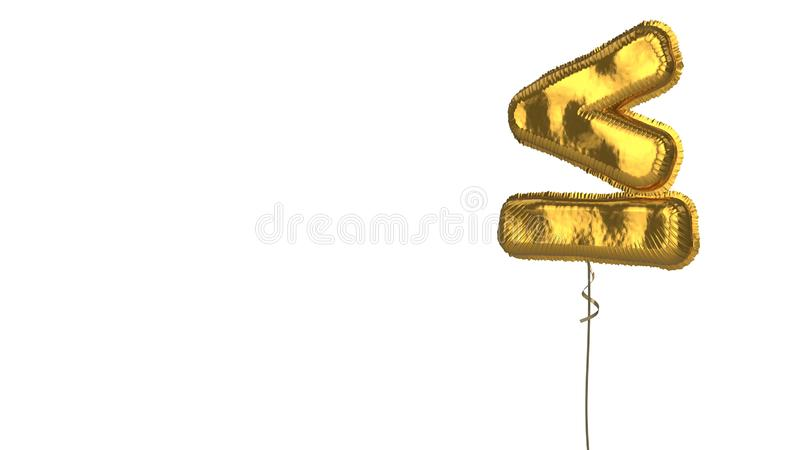 Gold balloon symbol of less than equal on white background. 3d rendering of gold balloon shaped as symbol of less than equal mark isolated on white background stock illustration
