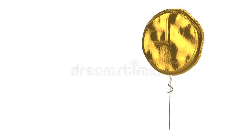 Gold balloon symbol of time on white background. 3d rendering of gold balloon shaped as symbol of circle clock with hand on nine and twelve isolated on white vector illustration