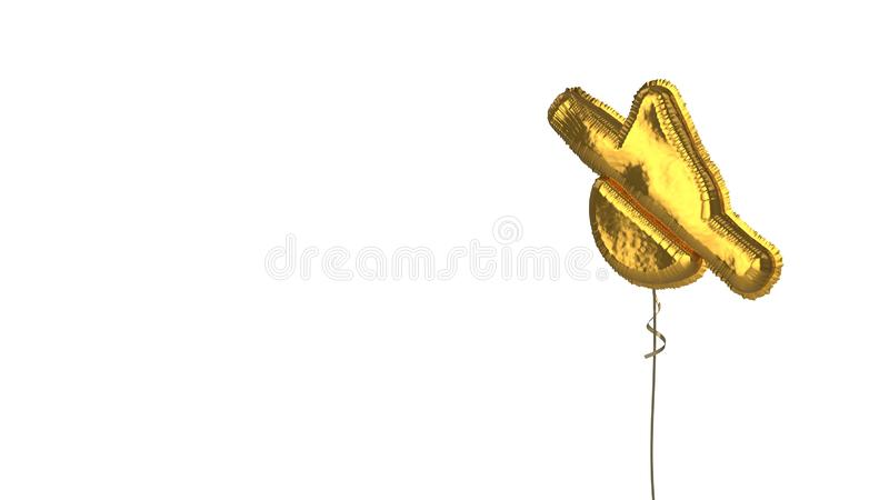 Gold balloon symbol of tint slash on white background. 3d rendering of gold balloon shaped as symbol of drop slash isolated on white background with ribbon royalty free illustration
