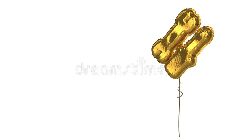 Gold balloon symbol of tools on white background. 3d rendering of gold balloon shaped as symbol of french key and screwdriver isolated on white background with royalty free illustration