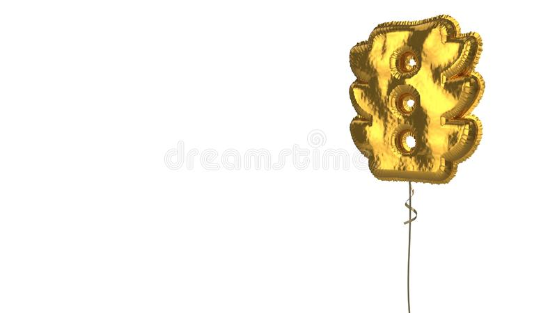 Gold balloon symbol of traffic light on white background. 3d rendering of gold balloon shaped as symbol of traffic light isolated on white background with ribbon vector illustration