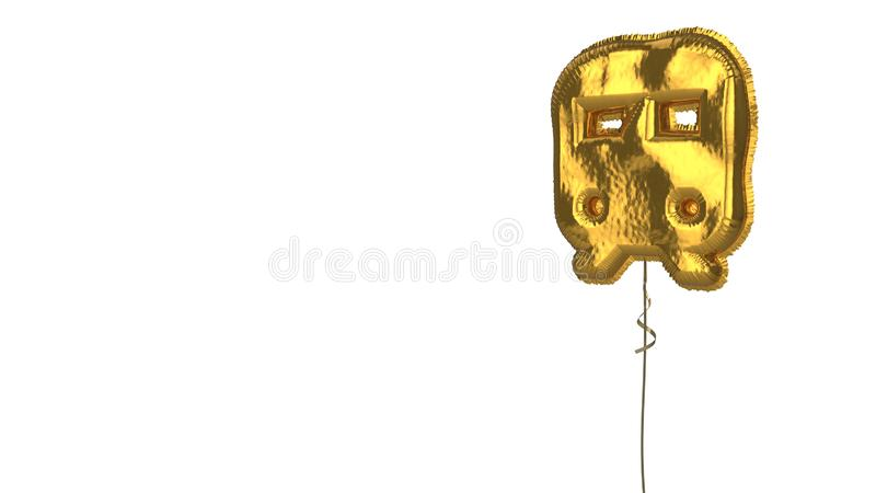 Gold balloon symbol of train on white background. 3d rendering of gold balloon shaped as symbol of train from front view isolated on white background with ribbon vector illustration