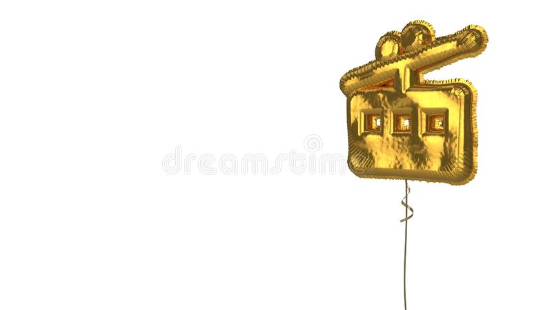Gold balloon symbol of tram on white background. 3d rendering of gold balloon shaped as symbol of tram from side view isolated on white background with ribbon vector illustration