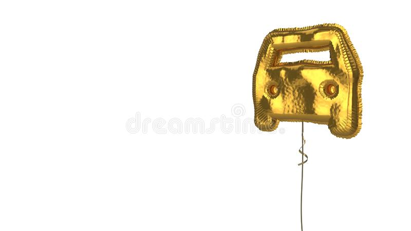 Gold balloon symbol of transport on white background. 3d rendering of gold balloon shaped as symbol of car from front view isolated on white background with vector illustration
