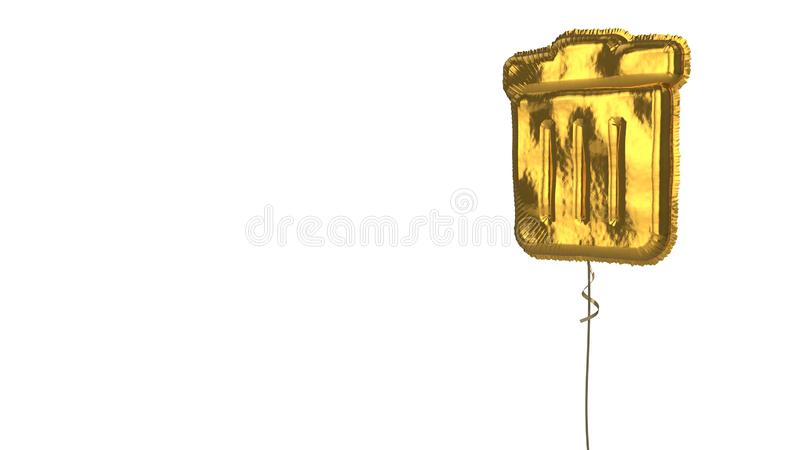 Gold balloon symbol of trash alt on white background. 3d rendering of gold balloon shaped as symbol of trash bin with stripes isolated on white background with stock illustration