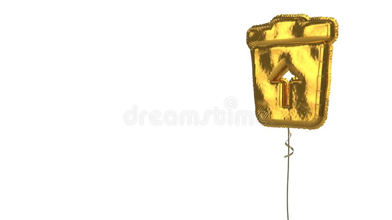Gold balloon symbol of trash restore on white background. 3d rendering of gold balloon shaped as symbol of trash bin with up arrow inside  isolated on white royalty free illustration