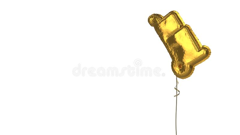 Gold balloon symbol of trolley on white background. 3d rendering of gold balloon shaped as symbol of trolley with two boxes isolated on white background with stock illustration