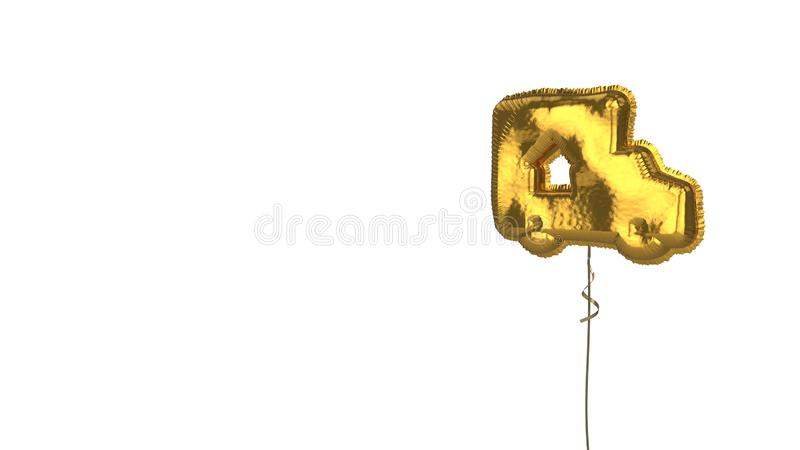 Gold balloon symbol of truck on white background. 3d rendering of gold balloon shaped as symbol of truck with up arrow inside isolated on white background with royalty free illustration
