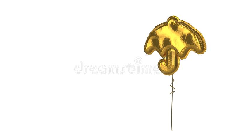 Gold balloon symbol of umbrella on white background. 3d rendering of gold balloon shaped as symbol of umbrella with handle isolated on white background with vector illustration