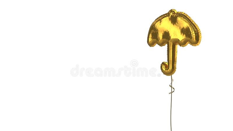 Gold balloon symbol of umbrella09 on white background. 3d rendering of gold balloon shaped as symbol of umbrella with thin handle isolated on white background vector illustration