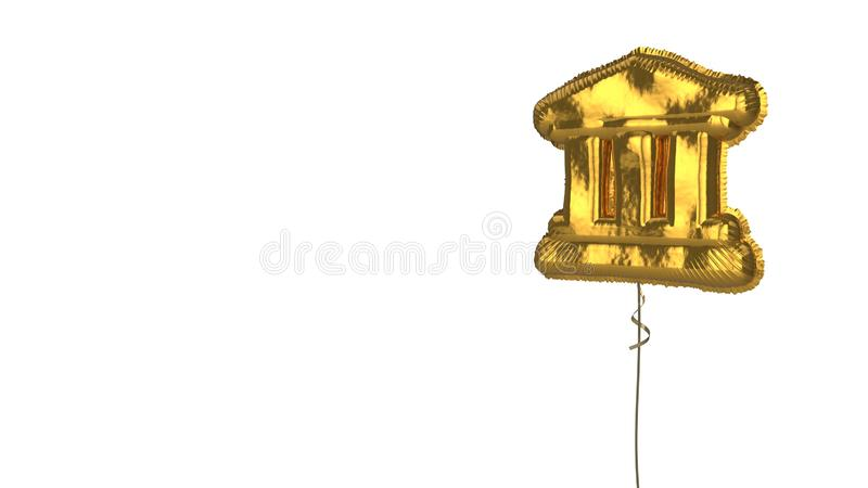 Gold balloon symbol of university on white background. 3d rendering of gold balloon shaped as symbol of university building with trhee ancient column isolated on stock illustration