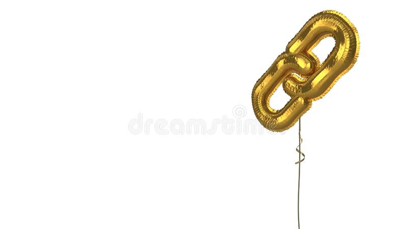 Gold balloon symbol of unlink on white background. 3d rendering of gold balloon shaped as symbol of two thin chain links isolated on white background with ribbon stock illustration