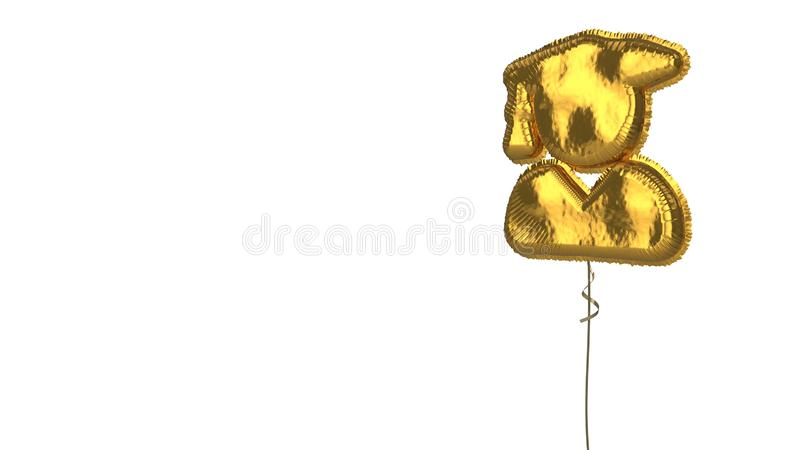 Gold balloon symbol of user graduate on white background. 3d rendering of gold balloon shaped as symbol of person with graduate hat isolated on white background royalty free illustration