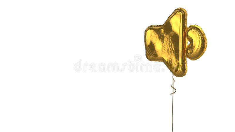 Gold balloon symbol of volume down on white background. 3d rendering of gold balloon shaped as symbol of speaker low isolated on white background with ribbon stock illustration