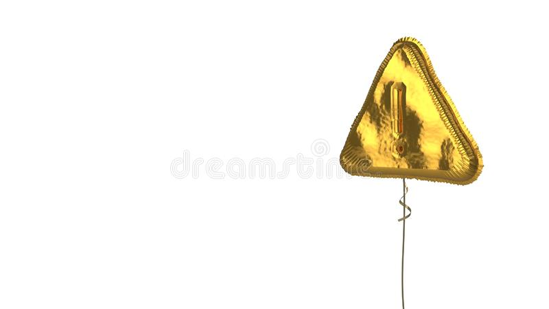 Gold balloon symbol of warning  on white background. 3d rendering of gold balloon shaped as symbol of exclamation sign in triangle isolated on white background royalty free illustration