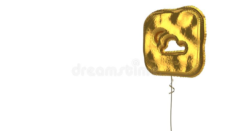Gold balloon symbol of weather on white background. 3d rendering of gold balloon shaped as symbol of rounded square with cloud and sun inside isolated on white stock illustration