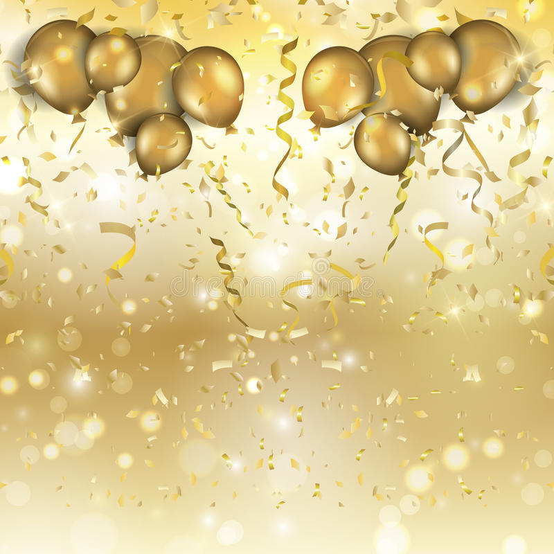Gold balloons and confetti background royalty free illustration