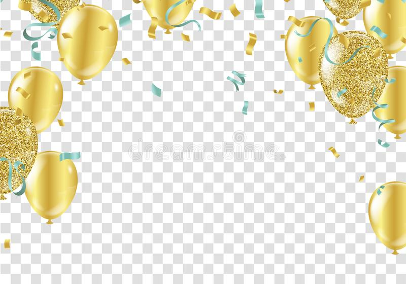 Gold balloons, confetti and streamers. Vector illustration. Eps.10 stock illustration