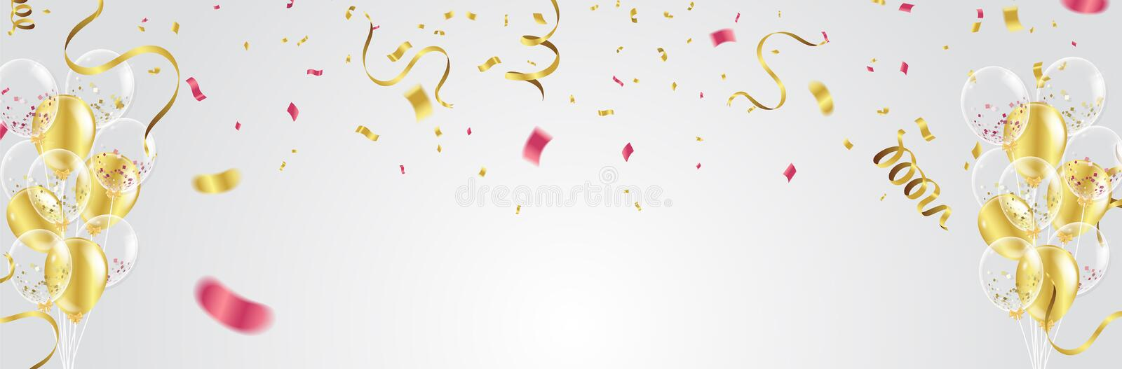 Gold balloons, confetti and streamers on white background. Vector illustration. royalty free illustration