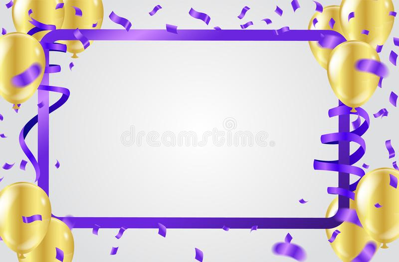 Gold balloons and Party flags colorful celebration abstract back stock illustration