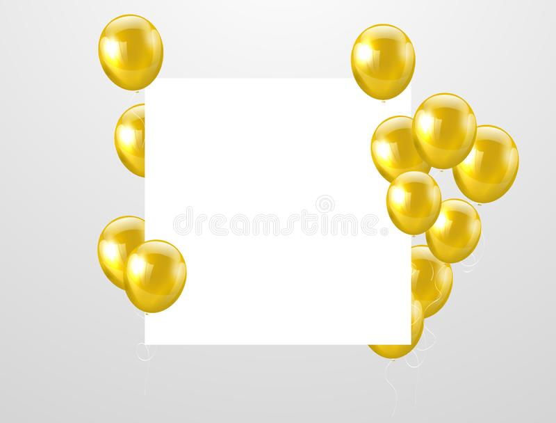 Gold balloons, vector illustration. Confetti and ribbons, vector illustration