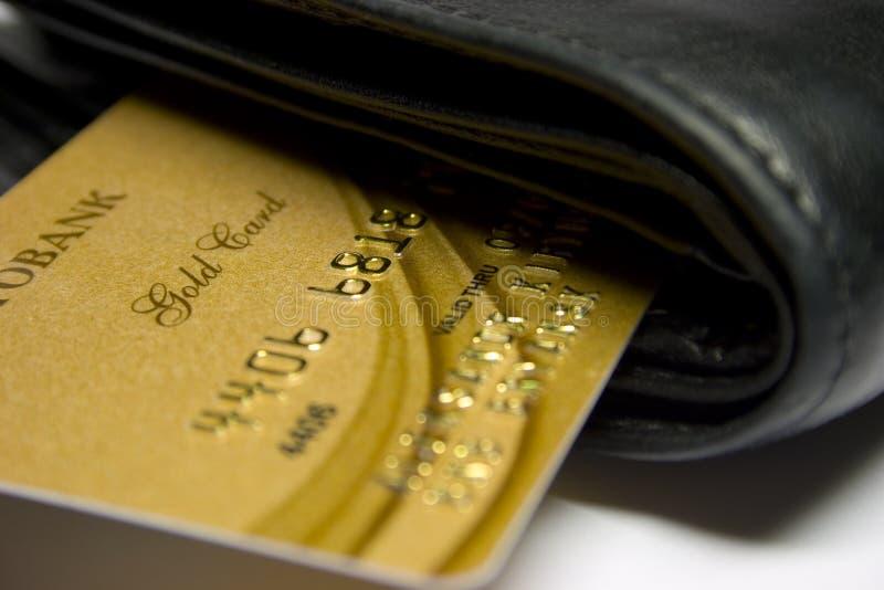 Gold bank card stock image