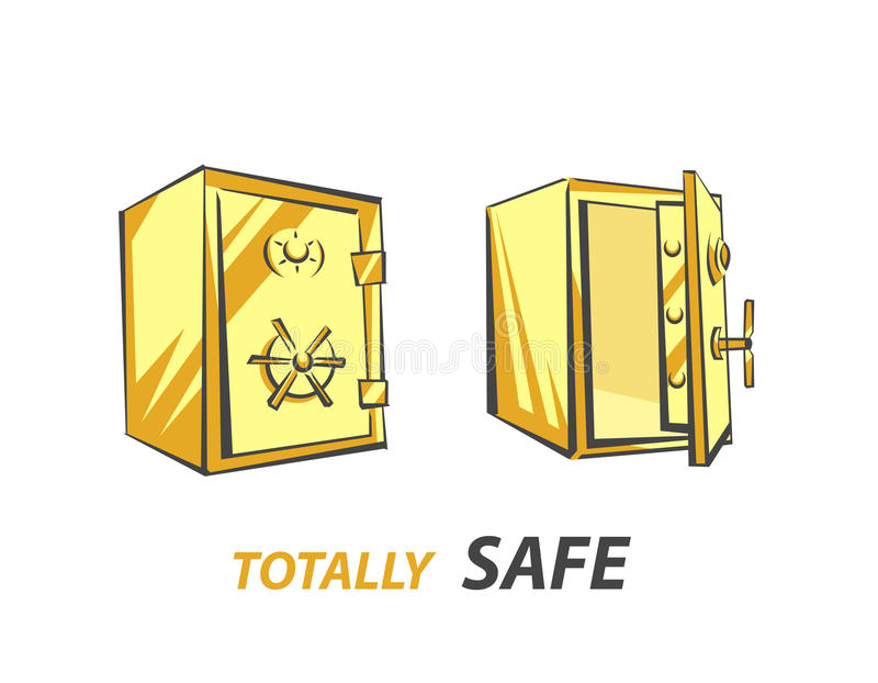 Gold bank safe, opened and closed, vector illustration in cartoon style, three-quarter view.  royalty free illustration