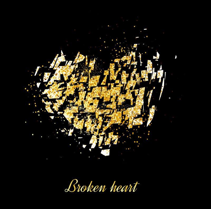 Gold banner. Gold broken heart. Gold sparkles on black background. Banners logo, card. vector illustration