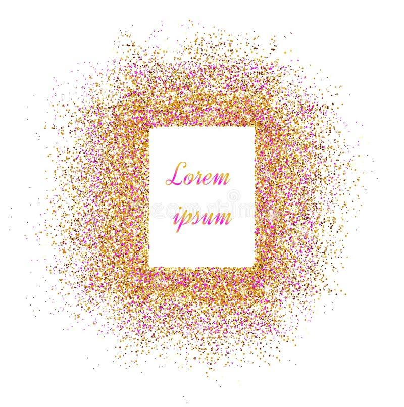 Gold banner. Gold sparkles on pink background. Banners logo, ca stock illustration