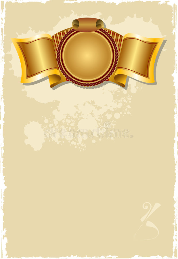 Gold Banner Old Page. stock illustration