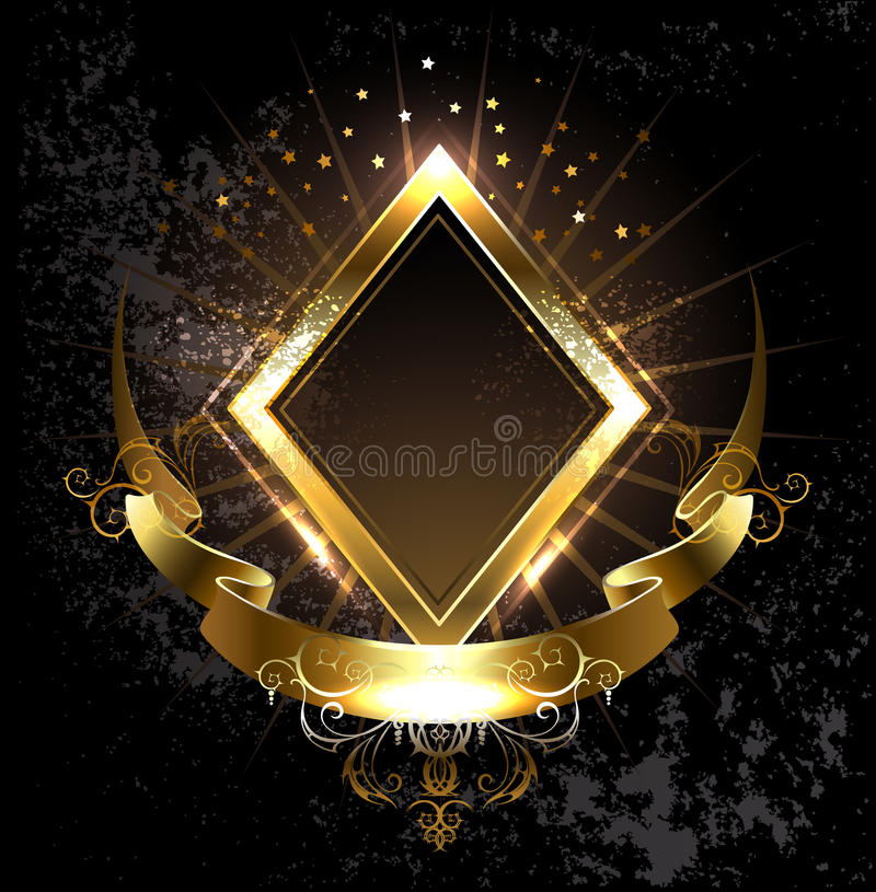 Gold banner rhombus. Rhombus golden banner with gold ribbon on black background