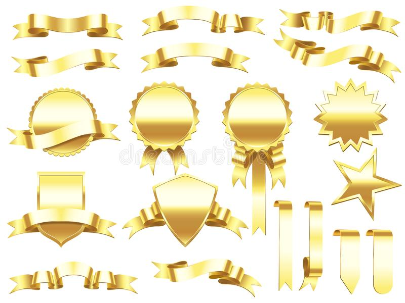 Gold banner ribbon. Elegant golden ribbons labels and products banners. Premium label sign vector set stock illustration
