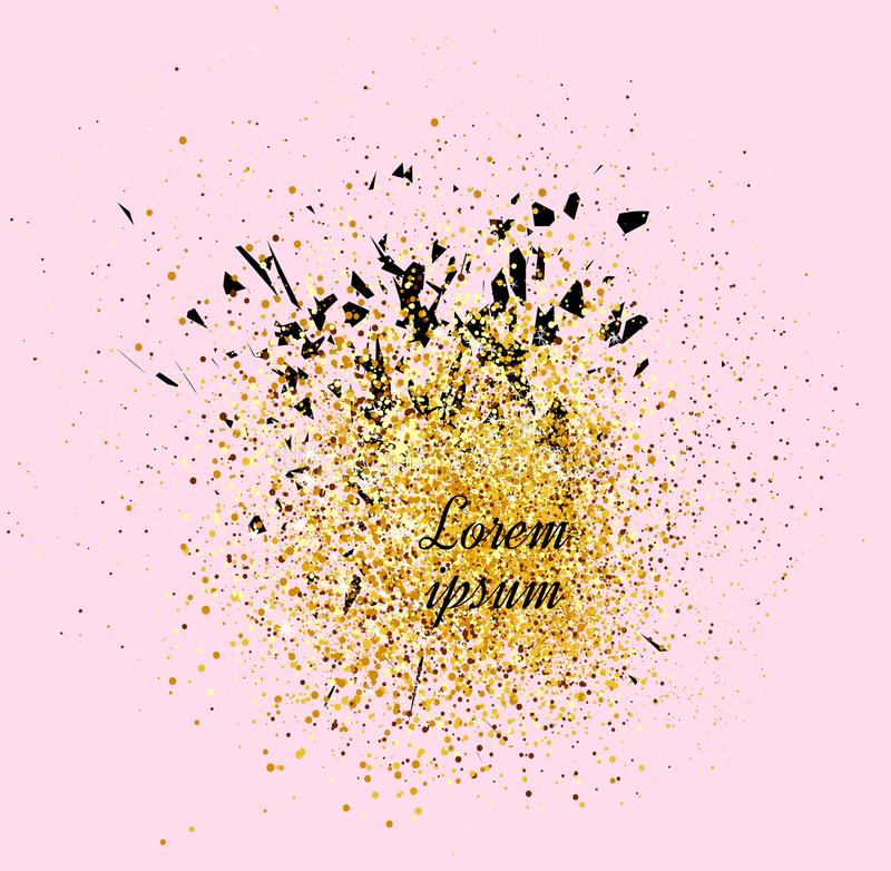 Gold banner. Gold sparkles on pink background. Banners logo, ca royalty free illustration