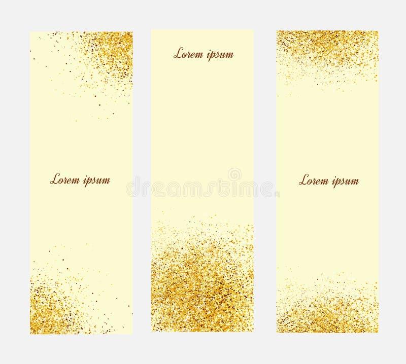 Gold banner. Gold sparkles on yellow backround. Vertical banner stock illustration