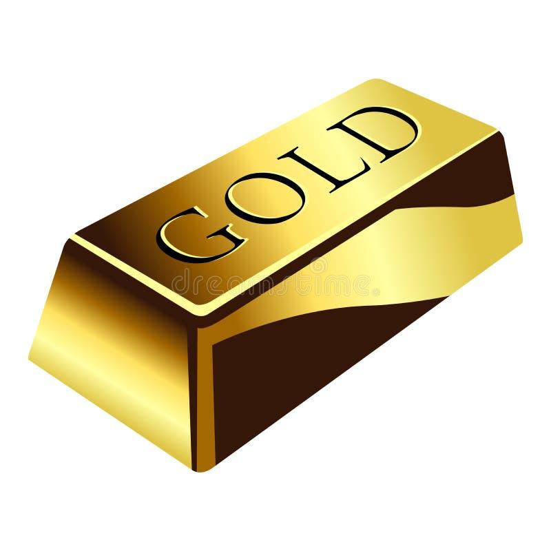 Gold bar. Isolated over square white background stock illustration
