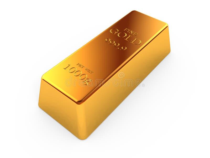 Gold bar. Isolated on white background stock illustration