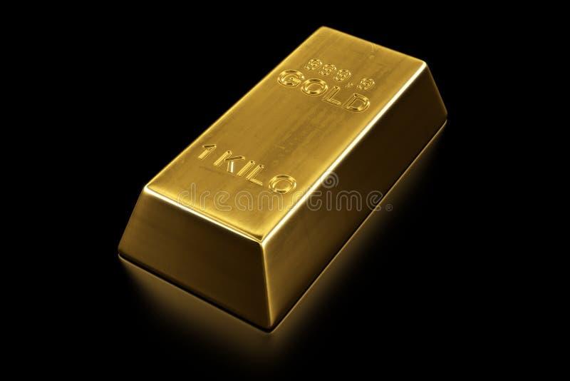 Gold bar. 3d rendering of a gold bar royalty free illustration