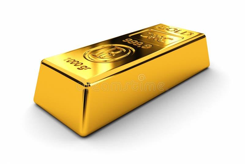 Gold bar. One gold bar over white background royalty free illustration
