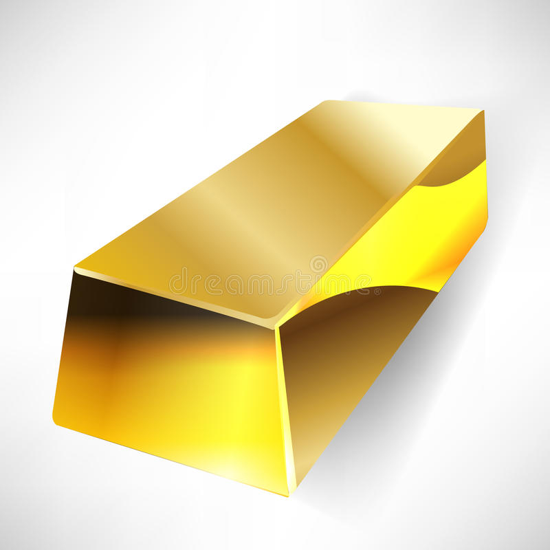 Gold bar. Single gold bar in perspective view royalty free illustration