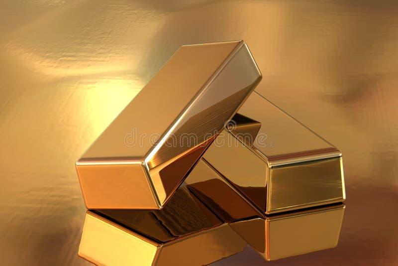 Gold Bar. On white background stock illustration