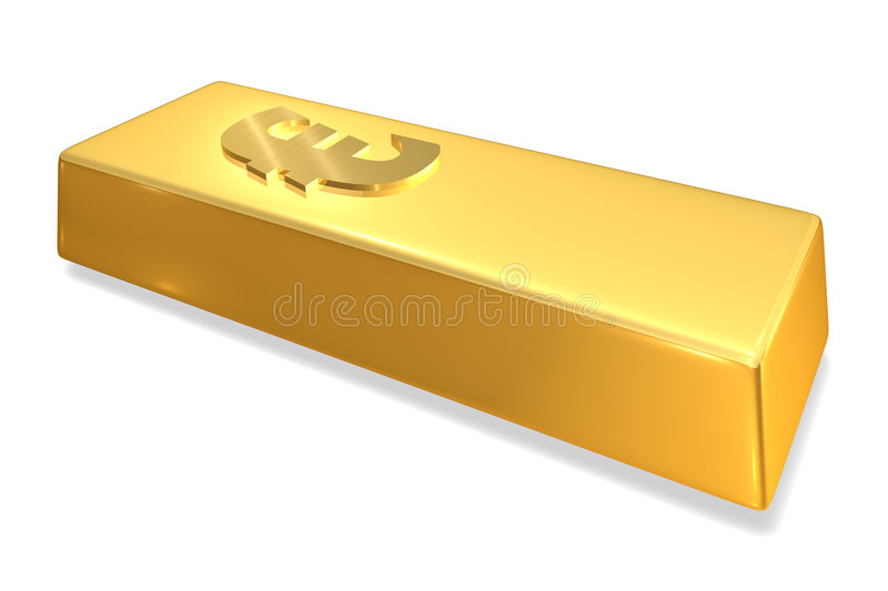 Gold Bar. With Euro sign vector illustration