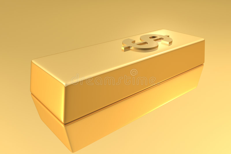 Gold Bar. With dollar sign vector illustration